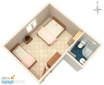 Gradac, Plan in the studio-apartment, dopusteni kucni ljubimci i WIFI.