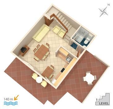Marina, Pôdorys v ubytovacej jednotke apartment, WIFI.