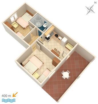 Duće, Plan in the apartment, dopusteni kucni ljubimci i WIFI.