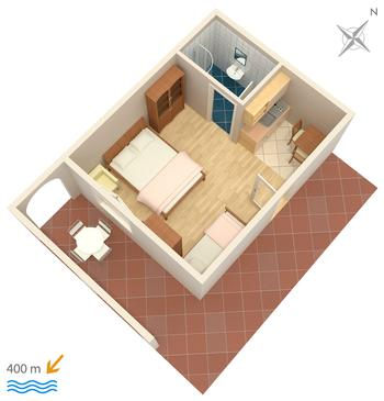 Duće, Plan in the studio-apartment, dopusteni kucni ljubimci i WIFI.