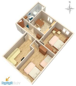 Omiš, Plan in the apartment.