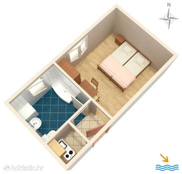 Orij, Plan in the studio-apartment, WIFI.