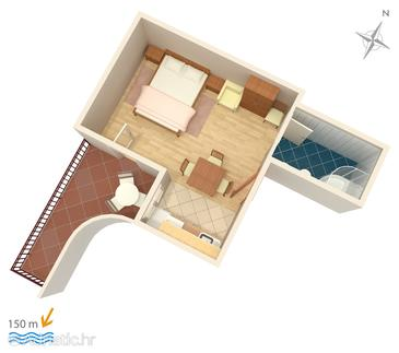 Duće, plattegrond in the studio-apartment, WiFi.