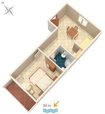 Zaostrog, Alaprajz szállásegység típusa apartment, WiFi .