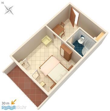 Zaostrog, Půdorys v ubytování typu studio-apartment, WiFi.