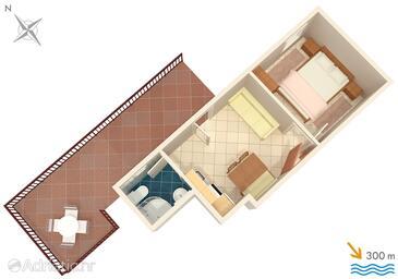 Stanići, Půdorys v ubytování typu apartment, WiFi.