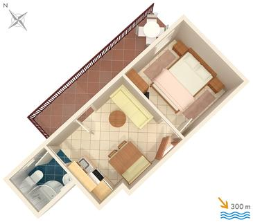 Stanići, Pôdorys v ubytovacej jednotke apartment, WIFI.
