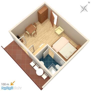 Duće, Schema nell'alloggi del tipo studio-apartment, WiFi.