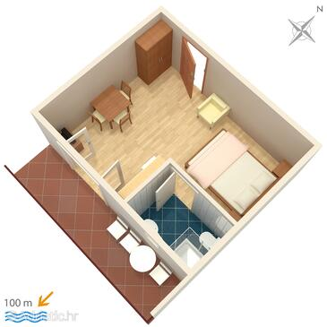 Duće, Grundriss in folgender Unterkunftsart studio-apartment, WiFi.