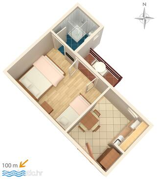 Duće, Půdorys v ubytování typu studio-apartment, WiFi.