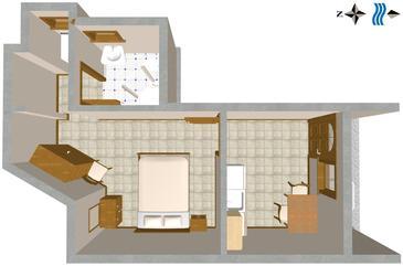 Duće, Plan kwatery w zakwaterowaniu typu studio-apartment.