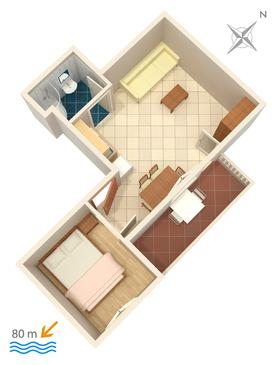 Lokva Rogoznica, Půdorys v ubytování typu apartment, domácí mazlíčci povoleni a WiFi.