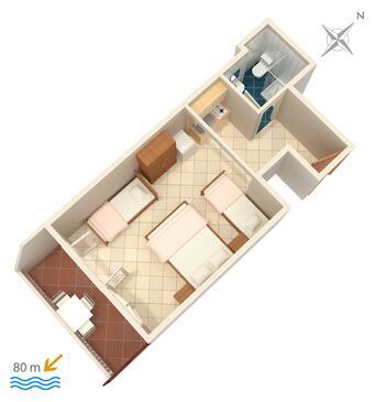 Lokva Rogoznica, Půdorys v ubytování typu studio-apartment, domácí mazlíčci povoleni a WiFi.