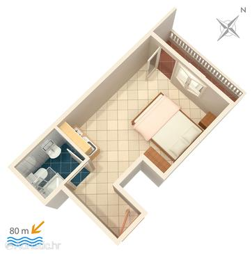 Lokva Rogoznica, Plan in the studio-apartment, dopusteni kucni ljubimci i WIFI.