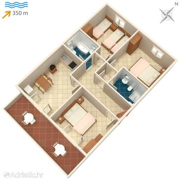 Mirca, Plan in the apartment, dopusteni kucni ljubimci i WIFI.