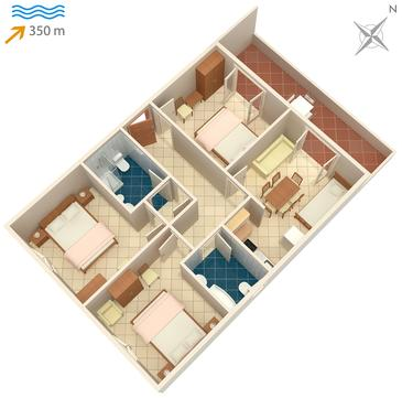 Mirca, Plan kwatery w zakwaterowaniu typu apartment, dopusteni kucni ljubimci i WIFI.