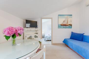 Sutivan, Pokój dzienny w zakwaterowaniu typu apartment, dostupna klima, dopusteni kucni ljubimci i WIFI.