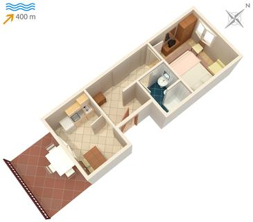 Mirca, Plan kwatery w zakwaterowaniu typu apartment, WiFi.