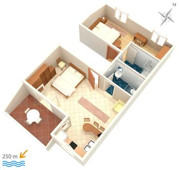 Bol, Plan kwatery w zakwaterowaniu typu apartment, WIFI.