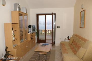 Splitska, Living room in the apartment, dostupna klima i WIFI.