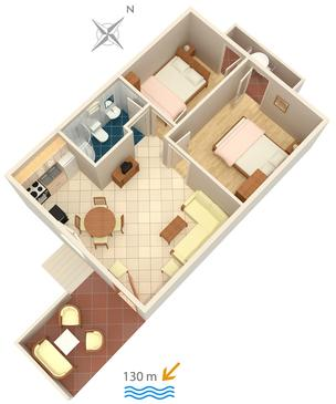 Rogoznica, Půdorys v ubytování typu apartment, domácí mazlíčci povoleni a WiFi.