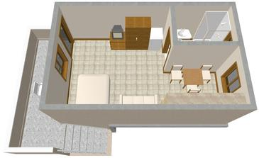 Nin, Plan kwatery w zakwaterowaniu typu studio-apartment, WIFI.
