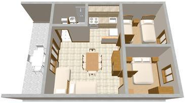 Vir, Pôdorys v ubytovacej jednotke apartment, domáci miláčikovia povolení a WiFi.