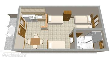 Vir, Plan in the studio-apartment, (pet friendly) and WiFi.