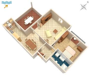 Postira, Půdorys v ubytování typu apartment, WiFi.
