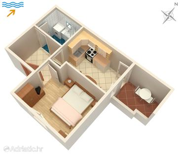Postira, Plan in the apartment, WIFI.
