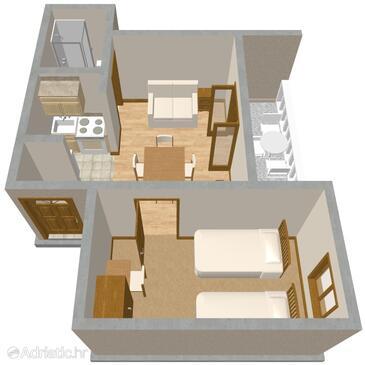 Zadar - Diklo, Plan in the apartment.