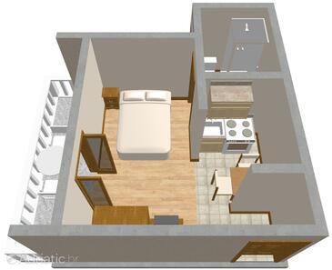 Zadar - Diklo, Plan in the studio-apartment.