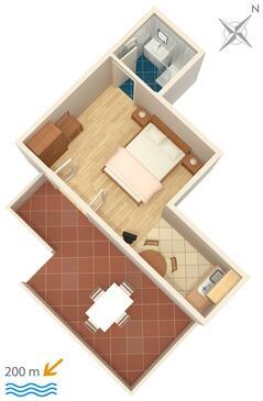 Bol, Plan kwatery w zakwaterowaniu typu studio-apartment, WIFI.