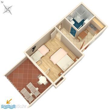 Splitska, Půdorys v ubytování typu apartment, domácí mazlíčci povoleni a WiFi.