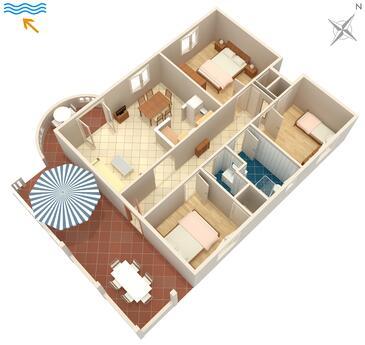 Splitska, Plan in the apartment, dopusteni kucni ljubimci i WIFI.