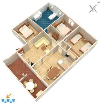 Zadar - Diklo, Půdorys v ubytování typu apartment, domácí mazlíčci povoleni a WiFi.