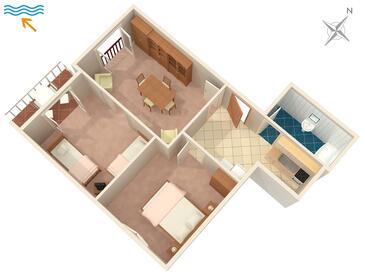 Povlja, Plan kwatery w zakwaterowaniu typu apartment.