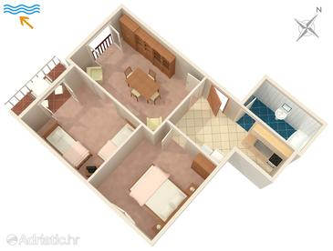 Povlja, Plan in the apartment.