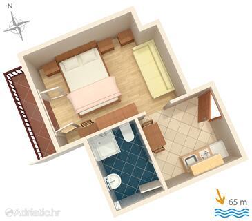 Lokva Rogoznica, Půdorys v ubytování typu studio-apartment, WiFi.