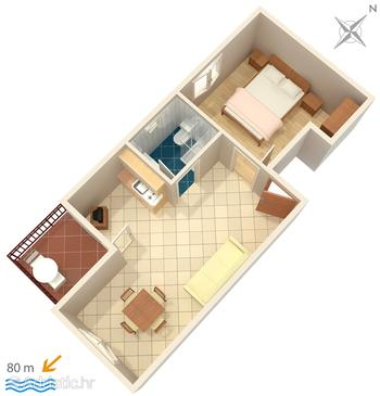 Lokva Rogoznica, Plan in the apartment, dopusteni kucni ljubimci i WIFI.