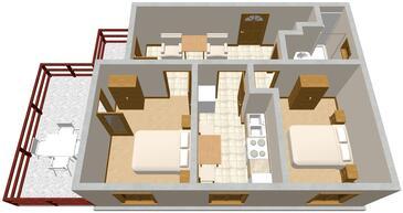 Mrljane, Plan kwatery w zakwaterowaniu typu apartment, dopusteni kucni ljubimci i WIFI.