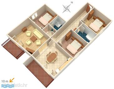 Vodice, Plan in the apartment.