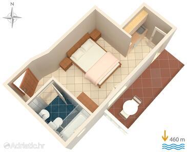 Vodice, План в размещении типа studio-apartment, WiFi.
