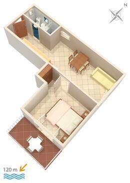 Baška Voda, Plan kwatery w zakwaterowaniu typu apartment, dopusteni kucni ljubimci i WIFI.