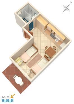 Baška Voda, Plan kwatery w zakwaterowaniu typu studio-apartment, dopusteni kucni ljubimci i WIFI.
