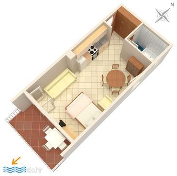 Baška Voda, Plan dans l'hébergement en type studio-apartment, animaux acceptés et WiFi.