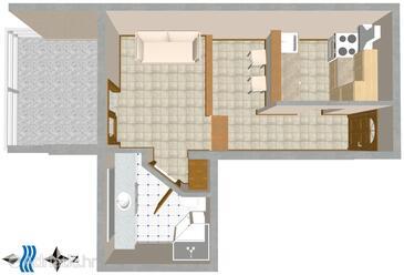 Split, Plan in the studio-apartment.