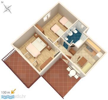 Banjole, Půdorys v ubytování typu apartment.