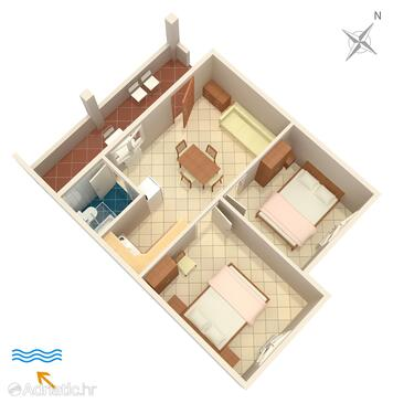 Funtana, Půdorys v ubytování typu apartment, domácí mazlíčci povoleni a WiFi.
