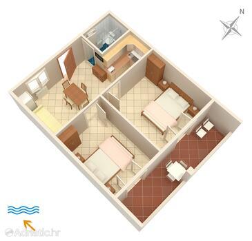Funtana, Plan in the apartment, dopusteni kucni ljubimci i WIFI.